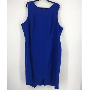 Eloquii Womens Dress Sheath Solid Blue Sleeveless